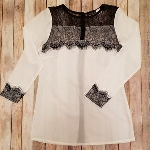 White Long Sleeve Blouse with Black Lace Detail